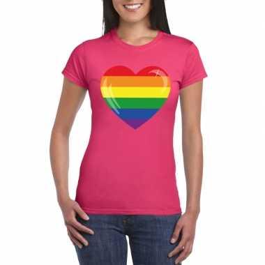 Carnavalskleding t shirt regenboog vlag hart roze dames arnhem