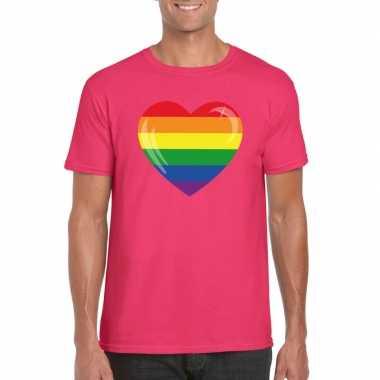 Carnavalskleding t shirt regenboog vlag hart roze heren arnhem
