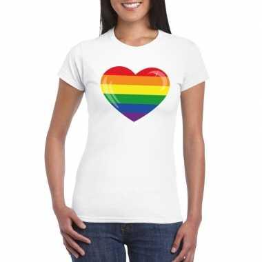 Carnavalskleding t shirt regenboog vlag hart wit dames arnhem