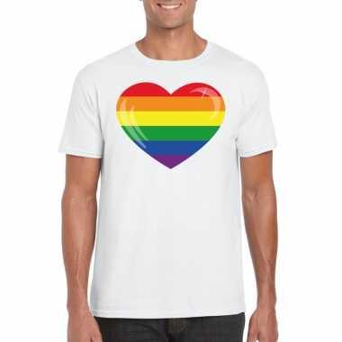 Carnavalskleding t shirt regenboog vlag hart wit heren arnhem
