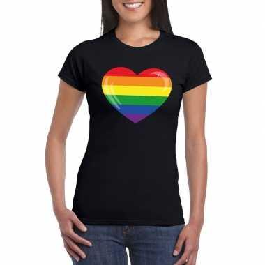 Carnavalskleding t shirt regenboog vlag hart zwart dames arnhem