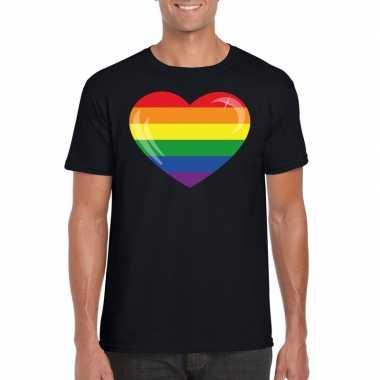 Carnavalskleding t shirt regenboog vlag hart zwart heren arnhem