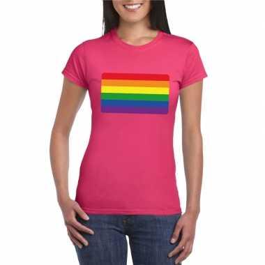 Carnavalskleding t shirt regenboog vlag roze dames arnhem