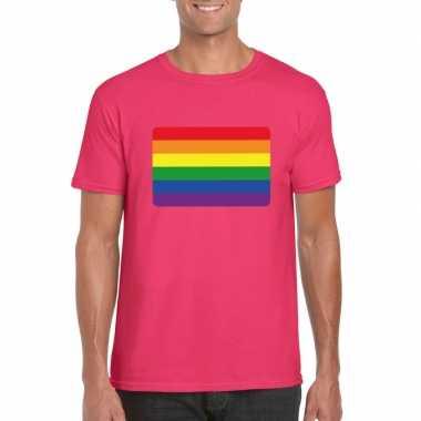 Carnavalskleding t shirt regenboog vlag roze heren arnhem