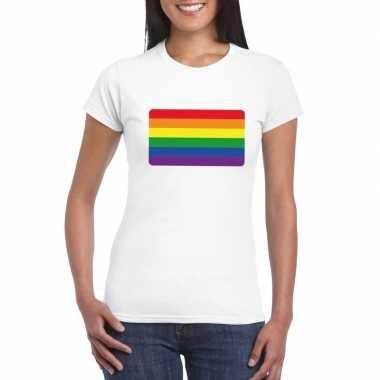 Carnavalskleding t shirt regenboog vlag wit dames arnhem
