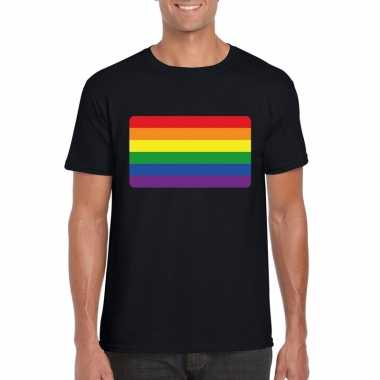 Carnavalskleding t shirt regenboog vlag zwart heren arnhem