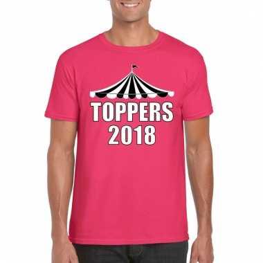 Carnavalskleding t shirt roze toppers witte letters heren arnhem