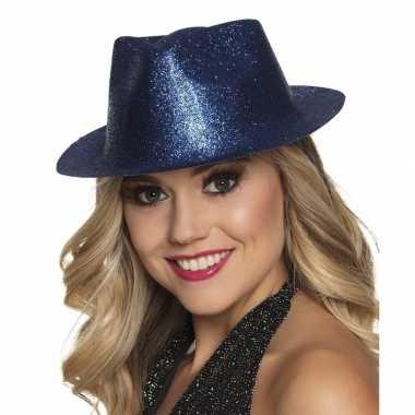 Carnavalskleding toppers blauw trilby hoedje glitters dames arnhem