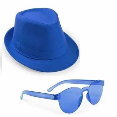 Carnavalskleding toppers blauw trilby party hoedje blauwe zonnebril a