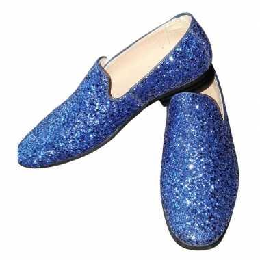 Carnavalskleding toppers blauwe glitter pailletten disco instap schoe