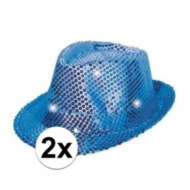 Carnavalskleding toppers blauwe pailletten hoedjes led licht arnhem