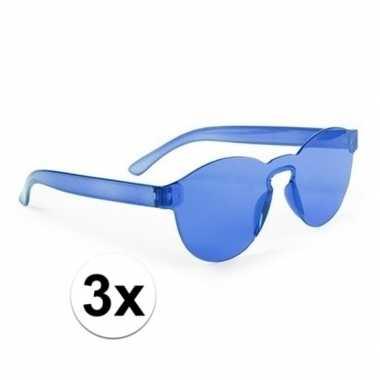 Carnavalskleding toppers blauwe verkleed zonnebrillen volwassenen arn