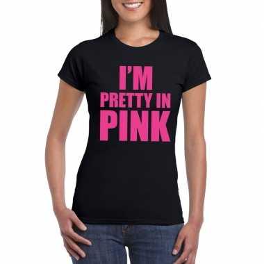 Carnavalskleding toppers i am pretty pink shirt zwart dames arnhem