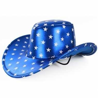Carnavalskleding toppers metallic blauwe cowboyhoed sterren volwassen