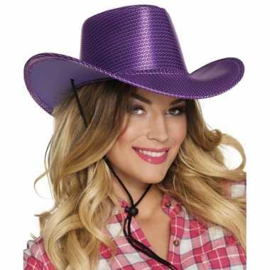 Carnavalskleding toppers paarse cowboyhoed howdy pailletten volwassenen arnhem