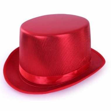 Carnavalskleding toppers rode hoge hoed metallic volwassenen arnhem