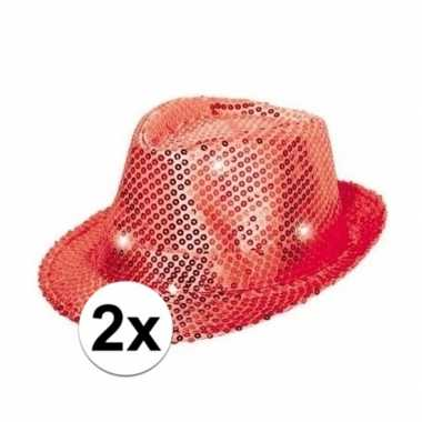 Carnavalskleding toppers rode pailletten hoedjes led licht arnhem