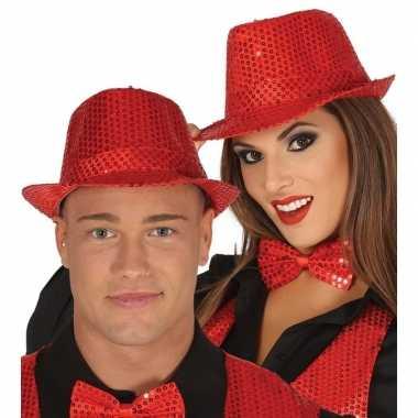 Carnavalskleding toppers rode trilby verkleed hoed pailletten volwass