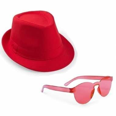 Carnavalskleding toppers rood trilby party hoedje rode zonnebril arnh