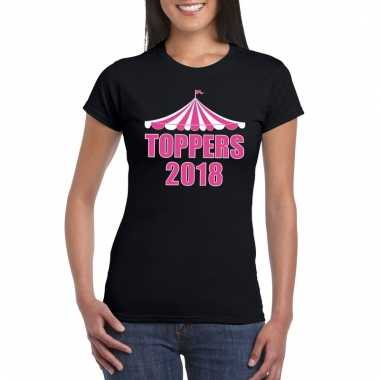 Carnavalskleding toppers t shirt zwart toppers roze letters dames arn