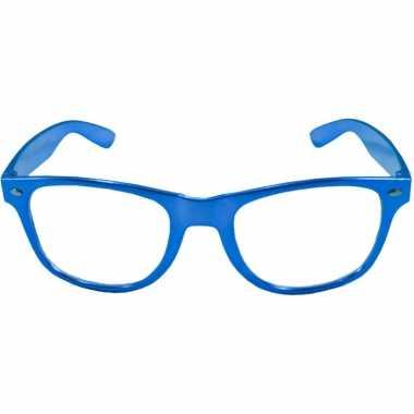 Carnavalskleding toppers verkleed bril metallic blauw arnhem