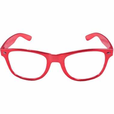 Carnavalskleding toppers verkleed bril metallic rood arnhem