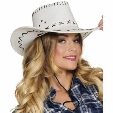 Carnavalskleding toppers witte cowboyhoed elroy lederlook volwassenen