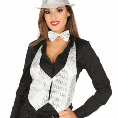Carnavalskleding toppers witte verkleed gilet pailletten maat / dames