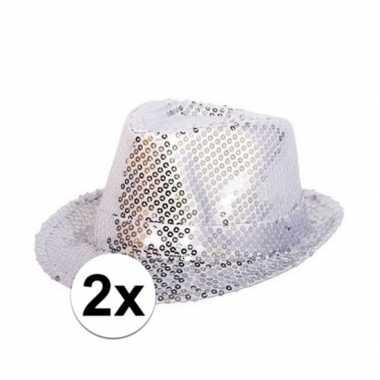 Carnavalskleding toppers zilveren trilby glitter party hoedjes paille