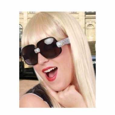 Carnavalskleding toppers zwarte zonnebril/feestbril zilveren glitters