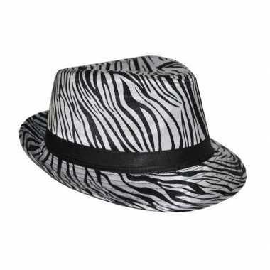 Carnavalskleding trilby hoedje zebra print arnhem
