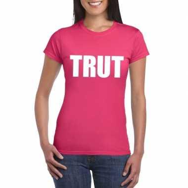 Carnavalskleding trut tekst t-shirt roze dames arnhem