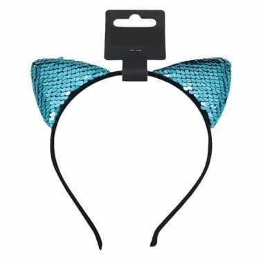 Carnavalskleding turquoise blauwe katten/poezen oren verkleed diadeem