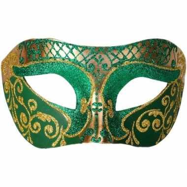 Carnavalskleding venetiaans glitter oogmasker groen/goud arnhem