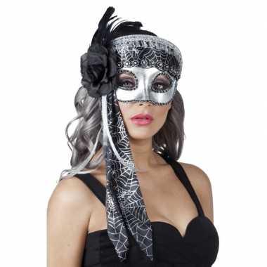 Carnavalskleding venetiaans glitter oogmasker zwart/zilver arnhem