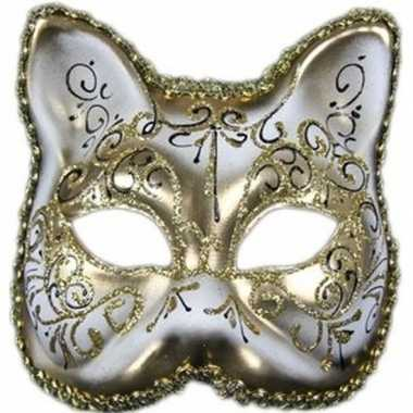 Carnavalskleding venetiaans katten/poezen gezichtsmasker wit/goud arn