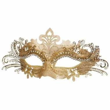 Carnavalskleding venetiaans kunststof oogmasker goud arnhem