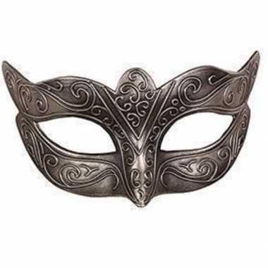 Carnavalskleding venetiaans zilver kunststof oogmasker arnhem