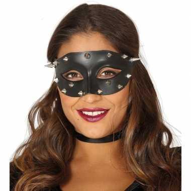 Carnavalskleding venetiaans zwart oogmasker studs dames arnhem