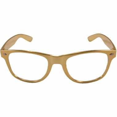 Carnavalskleding verkleed bril metallic goud arnhem