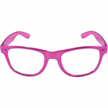 Carnavalskleding verkleed bril metallic roze arnhem