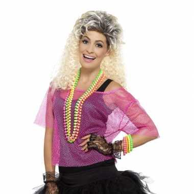Carnavalskleding visnet verkleed top neon roze arnhem