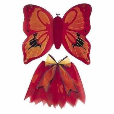 Carnavalskleding vlinder vleugels verkleed set rood kinderen arnhem