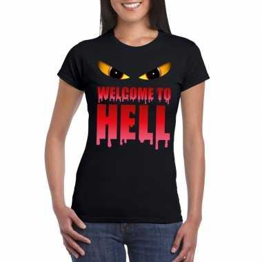 Carnavalskleding welcome to hell halloween duivel t shirt zwart dames