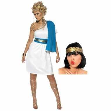 Carnavalskleding wit blauw romeins jurkje inclusief lauwerkrans maat