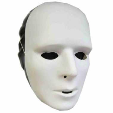 Carnavalskleding wit grimeer masker plastic arnhem
