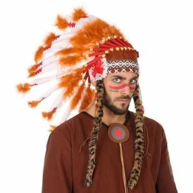 Carnavalskleding wit/oranje luxe indianen tooi heren arnhem