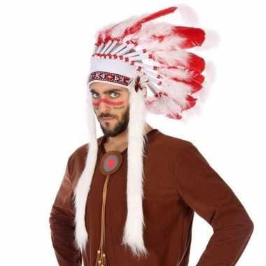Carnavalskleding wit/rode luxe indianen tooi heren arnhem