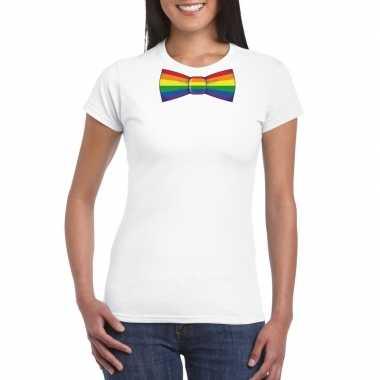 Carnavalskleding wit t shirt regenboog vlag strikje dames arnhem