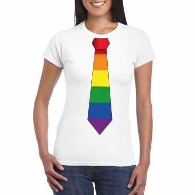 Carnavalskleding wit t shirt regenboog vlag stropdas dames arnhem